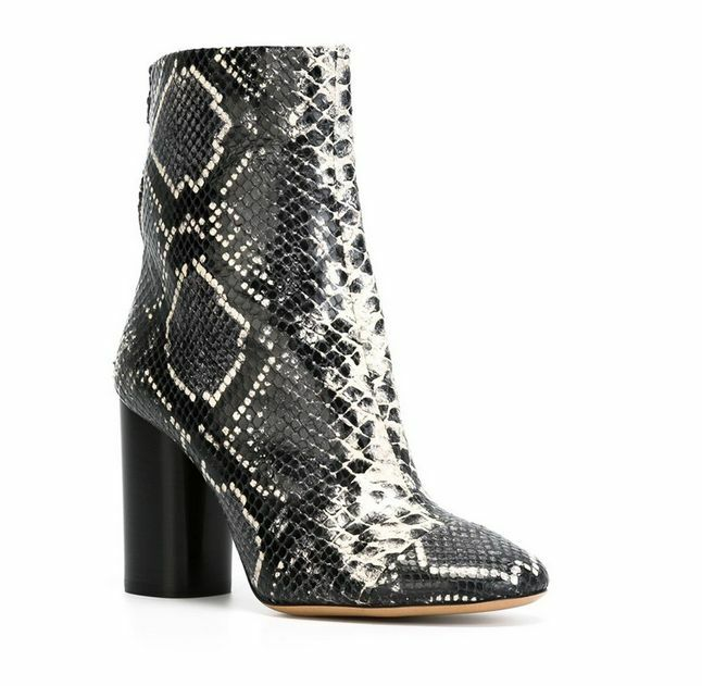 Sexy Women's Snakeskin Blocke High Heel Genuine Leather Gladiator Ankle Boots sz