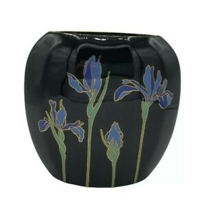 Vintage Japan Otagiri Cloisonne Black Blue Iris Gold Trim Flower Oval Bud Vase