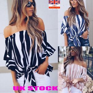 UK Womens Ladies Summer Causal Crop Tops Off Shoulder Blouse T Shirt Plus Size