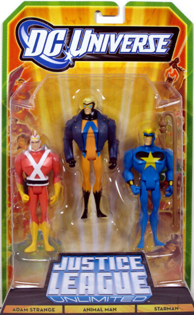 Justice League Unlimited 3-Pack ADAM STRANGE ANIMAL MAN STARMAN Figure Set NEW!