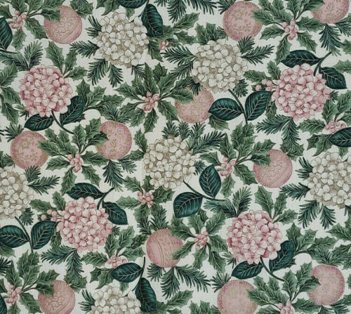 Christmas Floral Fabric Cotton 58 Inches Wide Gold Colored Accents Cranston