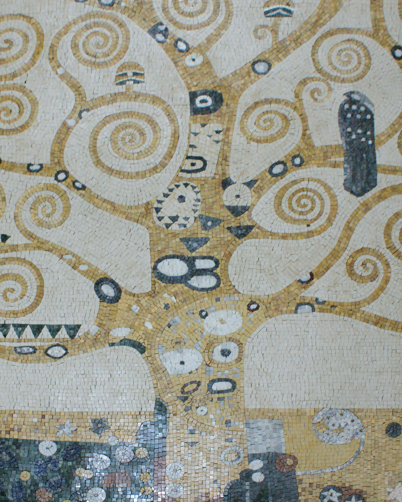 Tree of Life Gelb Creme Spiral Branch Wall Art Marble Mosaic CR1092