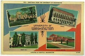 University-Washington-Seattle-Womens-Gym-Meany-Hall-Library-Multi-View-Postcard