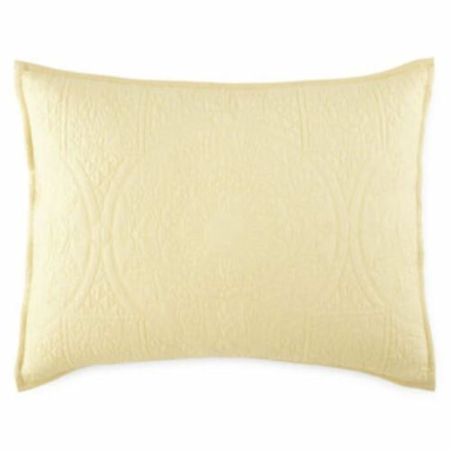 """Jcp Home Expressions Emma Quilted King Pillow Sham 20/""""x36/"""" Reed Yellow"""