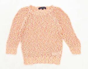 French-Connection-Womens-Size-S-Cotton-Blend-Orange-Neon-Jumper-Regular