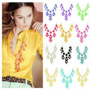 2018-New-Women-Bubble-Chain-Necklace-Bib-Statement-Choose-From-12-Colors