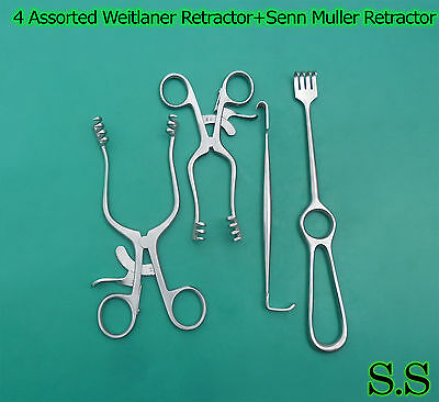 4 Weitlaner Retractor+Senn Muller Retractor+Volkman Retractor Sharp S.S-609