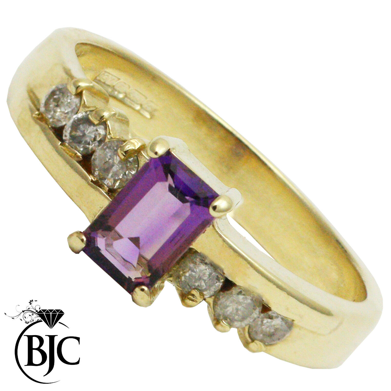 BJC 9 Ct Or yellow Améthyste & DIAMANT SOLITAIRE Accents Bague de fiançailles