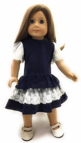 Navy Velour Dress with Lace Trim made for 18 inch American Girl Doll Clothes