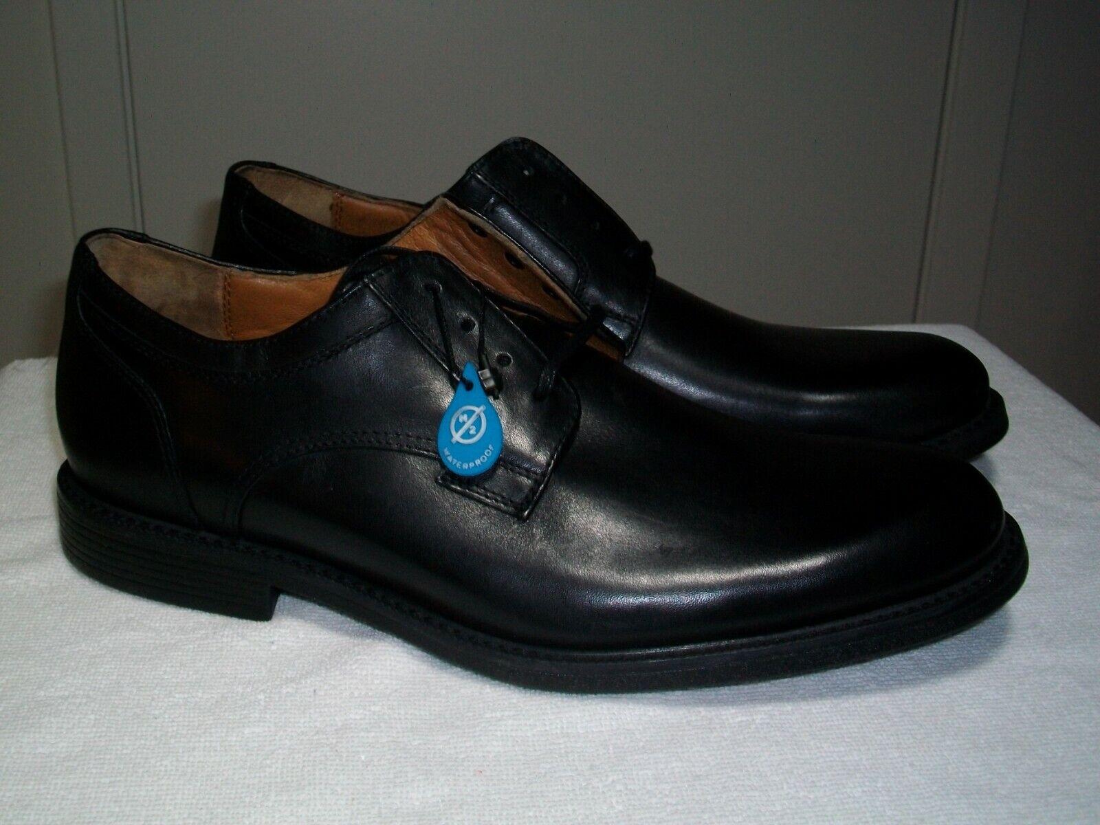 New Men's Johnston & Murphy XC4 Cardell Plain Toe Black WP Calfskin Oxfords 9M