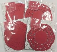 4 Packs Valentine's Day Lot Doilies Red Round Baking Crafts Classroom Art Supply
