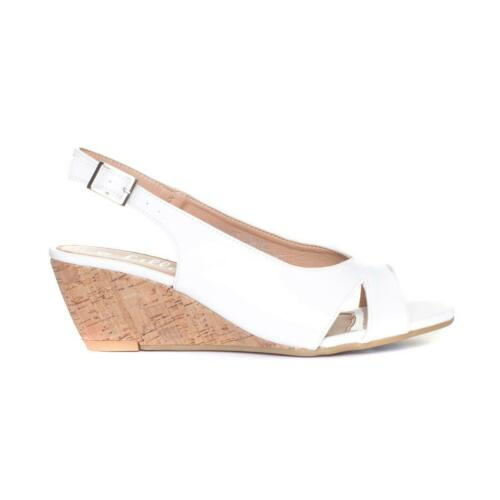 Sizes 3,4,5,6,7,8,9 Lilley Womens White Wedge Open Toe Sandal
