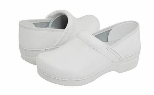 NEW DANSKO Womens Professional White Box Leather Closed Back Clogs 606010101