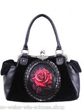 Restyle Tasche Cameo Rose Gothic Lolita Samt Handtasche Rot Victorian Red Bag