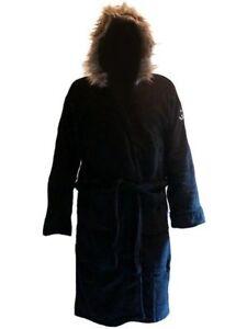 Black Parka Fleece Hooded Bathrobe Dressing Gown Robe for sale