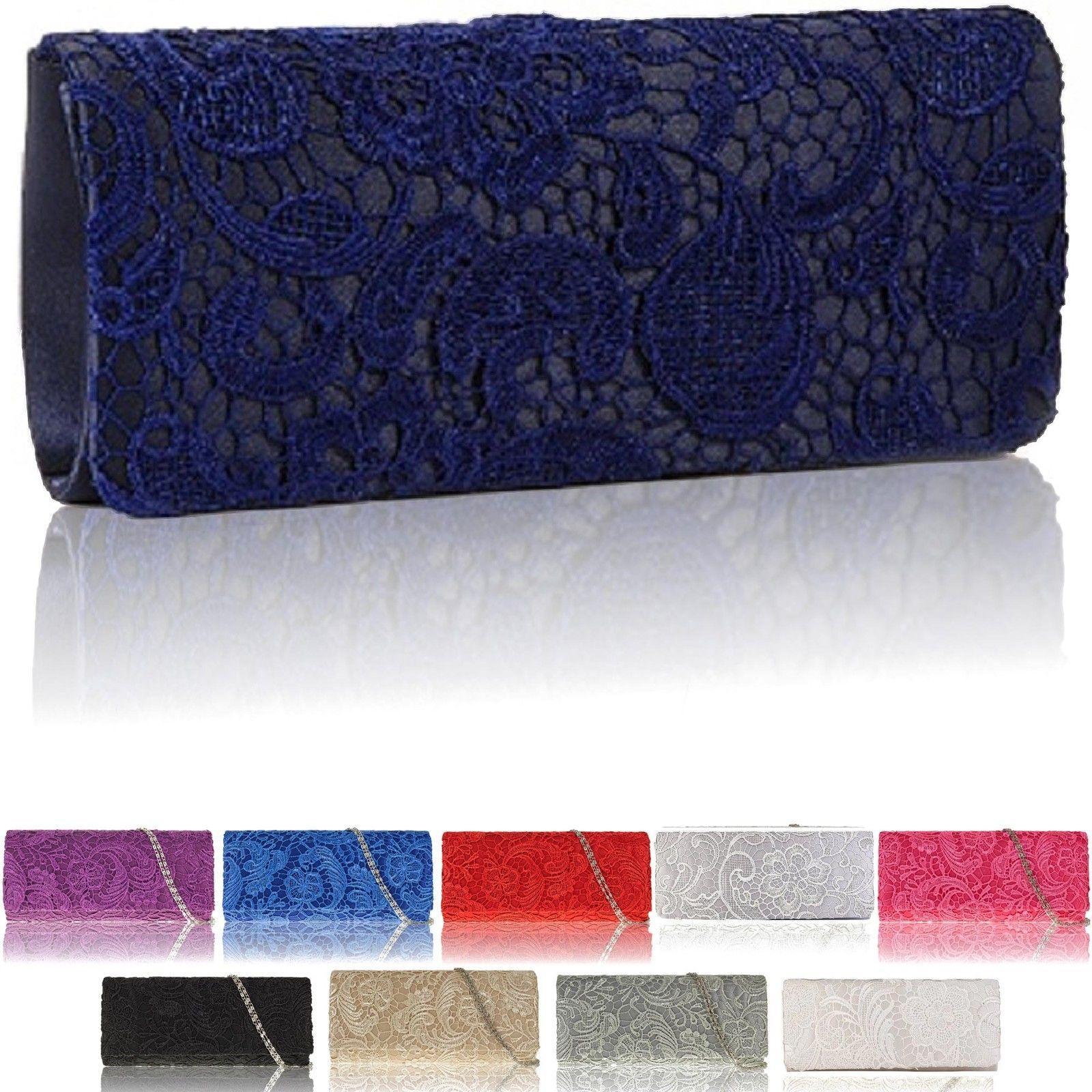 Satin Floral Lace Women's Clutch Bag Purse or Evenings party Bag