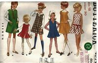 4974 Butterick Vintage SEWING Pattern Girls 1960's Dress Jumper Neckline Variety