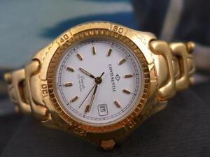 Classic Date Watch 41mm Quartz Chunky Dial Mens Gp Continental White dWQCeExroB