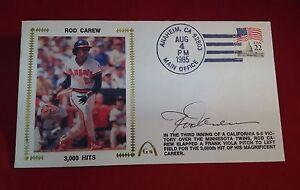 Rod Carew signed 1985 3000 Hits Cachet PSA/DNA Cert# W40430