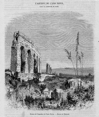 Stampa antica ROMA Anio Novus Acquedotto Claudio 1861 | eBay