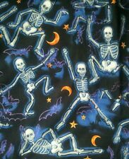Halloween skeleton scrub top v-neck  uniform dental medical nurse vet M