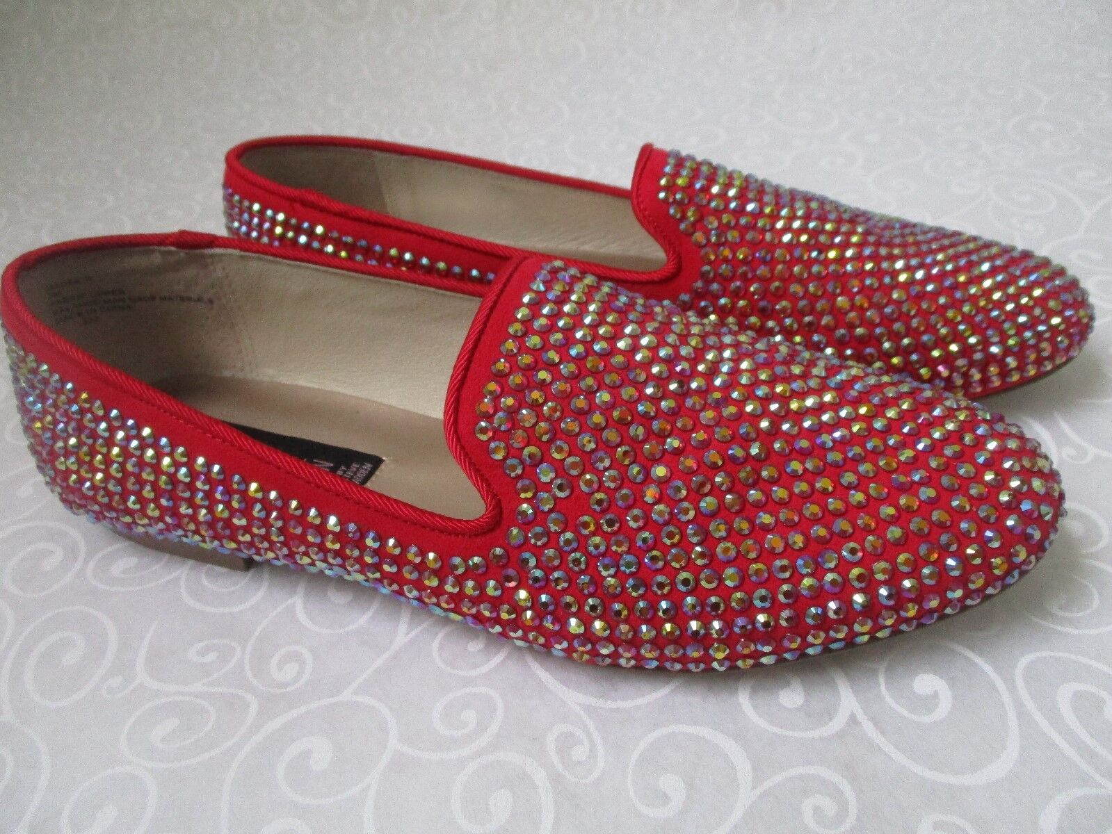 STEVEN BY STEVE MADDEN RED RHINESTONE FLATS SHOES SIZE 6 1/2 W - NEW