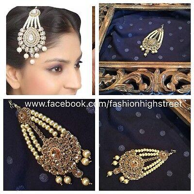 Indian Pakistani Bridal Pearl Clear Matha Patti Jhumar Head