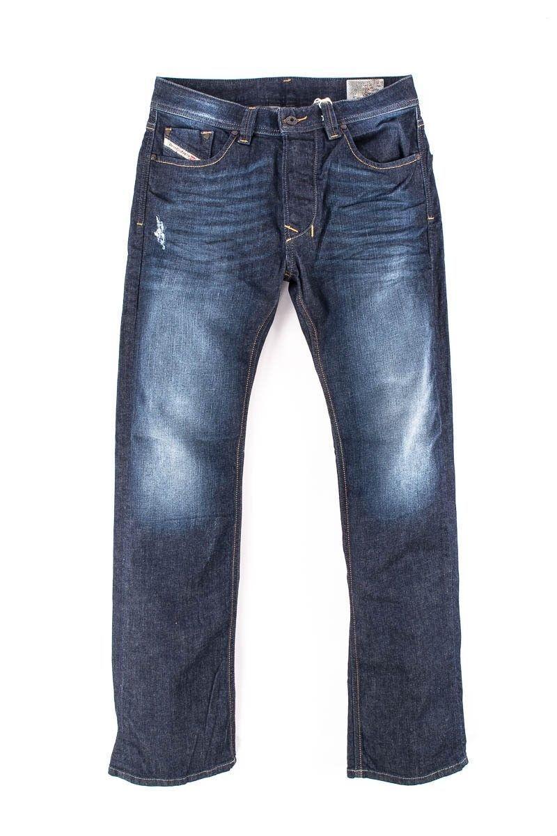 MEN'S DIESEL LARKEE WASH 0RM31_STRETCH Crumpled Straight Jeans Denim W27 L32