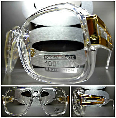 CLASSIC VINTAGE Style Clear Lens EYE GLASSES Transparent - Crystal & Gold Frame