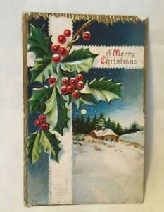 1915-Embossed-Christmas-Postcard-A-MERRY-CHRISTMAS-holly-and-berries