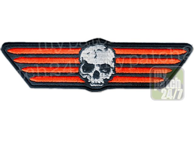 Aufnäher Biker Patch Skull and Stripes Totenkopf Totenschädel Rocker Kutte Badge