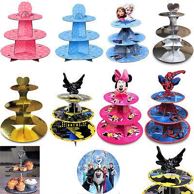 Nuovo 3 Tier Cupcake Muffin Stand Supporto In Cartone Cake Party Bambini Principessa Rack-mostra Il Titolo Originale