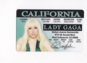 Details about California Lady GAGA rock star plastic fake id collector card  Drivers License