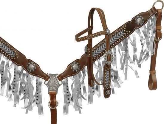 Showman Plata Metálico Flecos cabezada y PECHOPETRAL Set  Nuevo tachuela del caballo