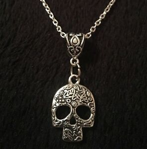 Mens Womens Skull Flower Charm Silver Chain Necklace Day of the Dead UK Seller