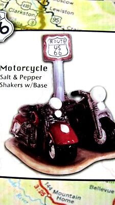 Salt & Pepper Shaker...route 66...motorcycle...one Of A Kind Pure And Mild Flavor