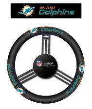 Miami Dolphins Black Vinyl Massage Grip Steering Wheel Cover