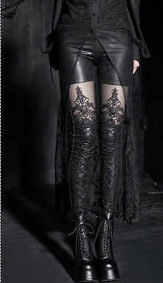 Punk Rave womens Gothic embossed decorative pattern leggings Pants Steampunk