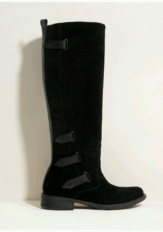 Nuevo con alta etiquetas Guess Cuero Negro Balere rodilla alta con botas talla 5.5 M f19675
