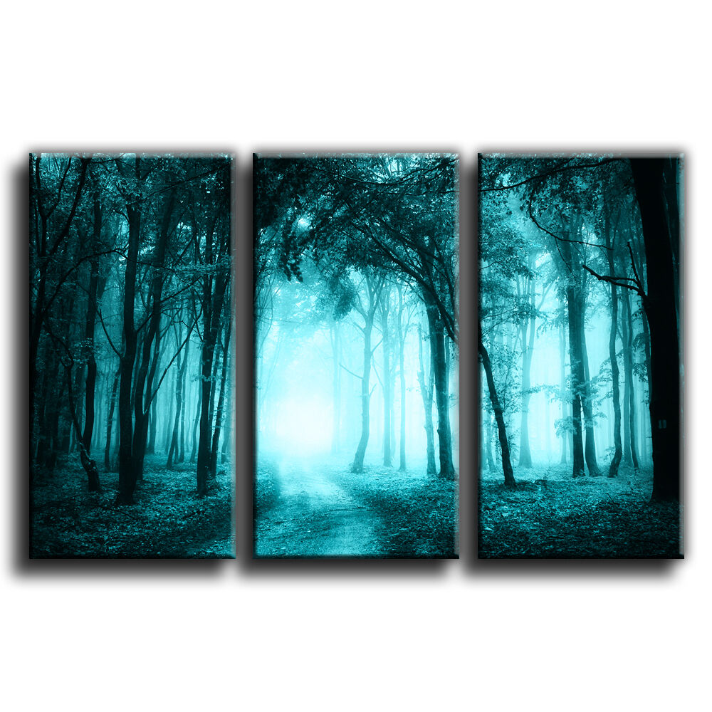 Bright woodland treble paysage toile wall art imprimé photo différentes différentes différentes tailles 41 | Acheter