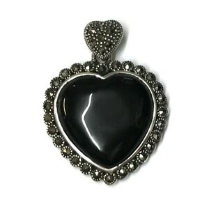 Whitby-Jet-And-Marcasite-in-925-Sterling-Silver-Heart-Pendant