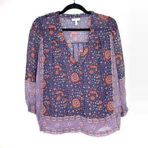 Joie-Blouse-Top-Sz-M-Floral-Semi-Sheer-3-4-Sleeve-V-neck