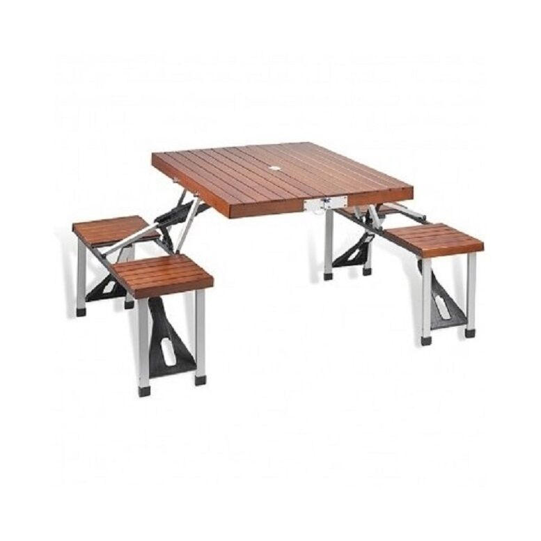 Portable Wooden Picnic Table & Seats Folding  Seats 4 Wood with Aluminum Frame