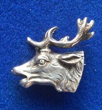 Vintage Silver White Metal Scottish Stag Brooch - Celtic Kilt Animals
