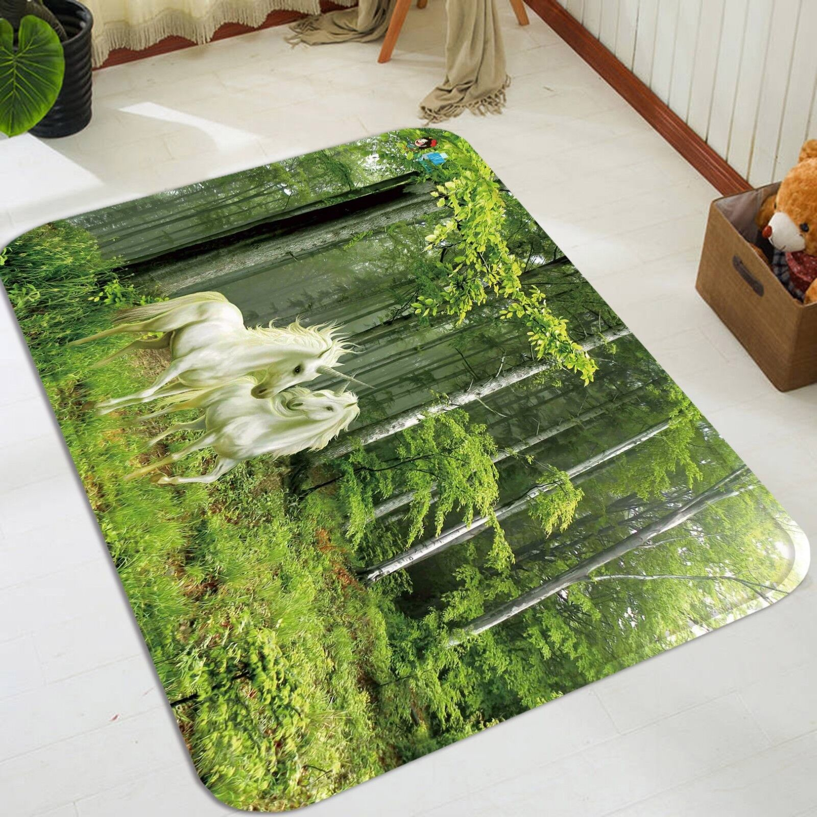 3d UNICORNO foresta 152 non-slip CARPET MAT quality elegante Carpet de Summer