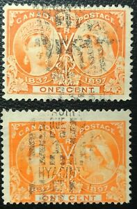 CANADA-1897-QUEEN-VICTORIA-JUBILEE-s-51-51i-1-cent-ORANGE-YELLOW-ORANGE-USED