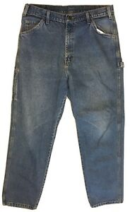 Dickies-Carpenter-Jeans-36-x-32-Relaxed-Straight-Leg-Light-Wash-Denim-Blue