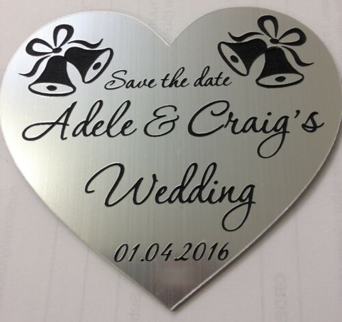 WEDDING FAVOURS BELLS ENGRAVED ACRYLIC SAVE THE DATE FRIDGE MAGNET GIFT
