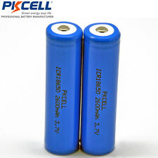 2pcs ICR 18650 Li-ion Battery Rechargeable  Button Top No Plate For Flashlight