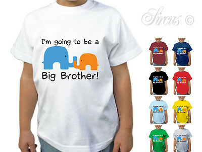I'M GOING TO BE A BIG BROTHER ELEPHANTS DESIGNER T-SHIRT TSHIRT KIDS CHILDRENS